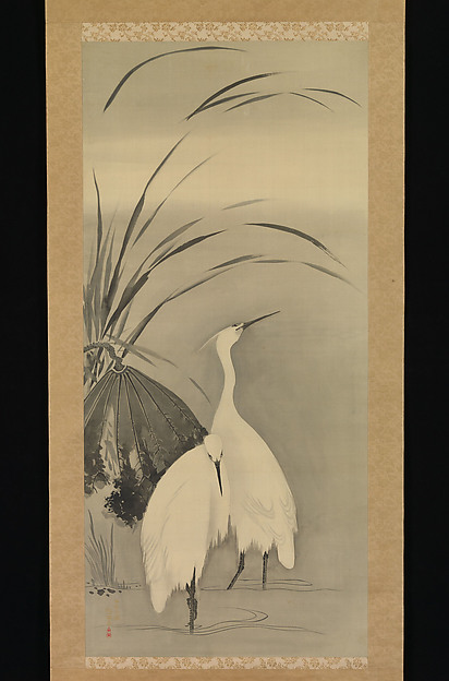 Fascinating Historical Picture of Sakai Hitsu with Two Egrets and Lotus in 1761