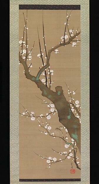 Fascinating Historical Picture of Sakai Hitsu with White Plum Blossoms and Nightingale in 1761