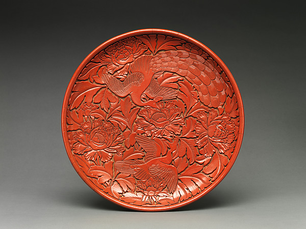 Dish with Two Birds and Peonies
