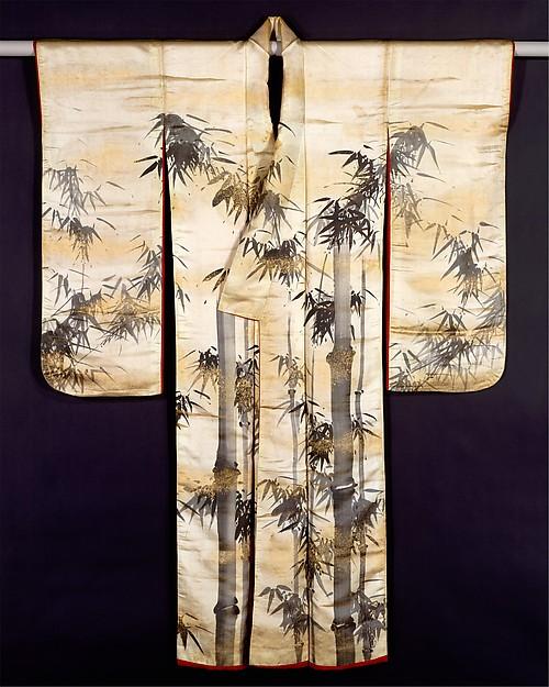 白繻子地墨竹図打掛 祇園南海筆<br/>Overrobe (Uchikake) with Bamboo