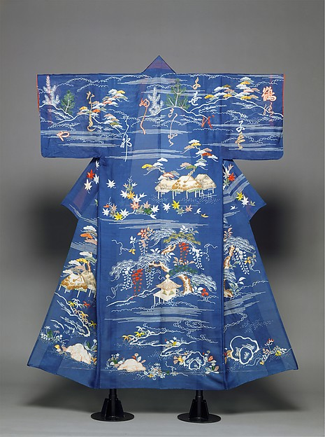 Unlined Kimono with Landscape and Poem