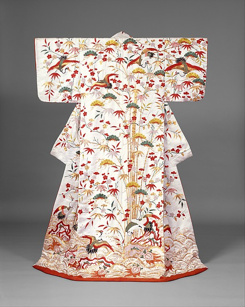 白綸子地松竹梅鶴亀模様打掛<br/>Outer Robe (Uchikake) with Theme of Mount Hōrai