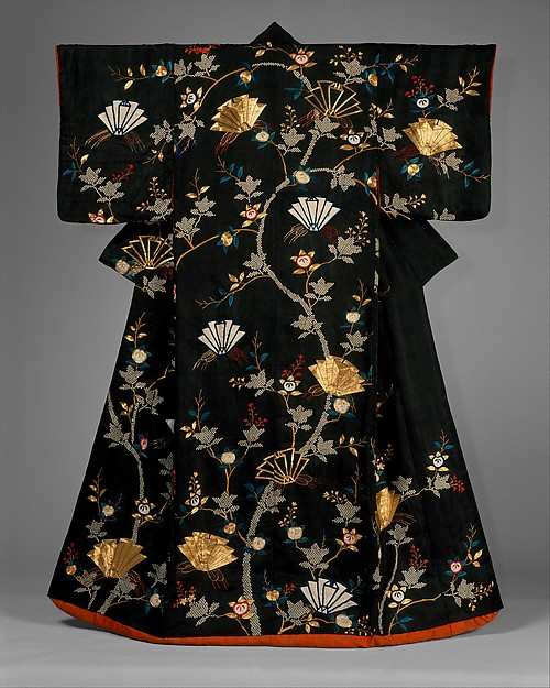 Outer Robe (Uchikake) with Mandarin Oranges and Folded-Paper Butterflies