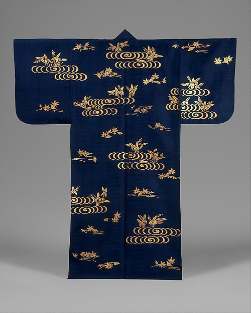 Noh Costume (Surihaku) with Water, Water Plants, and Leaves