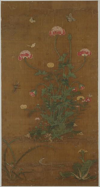 元/明  呂敬甫  花蝶圖  軸 <br/>Flowers