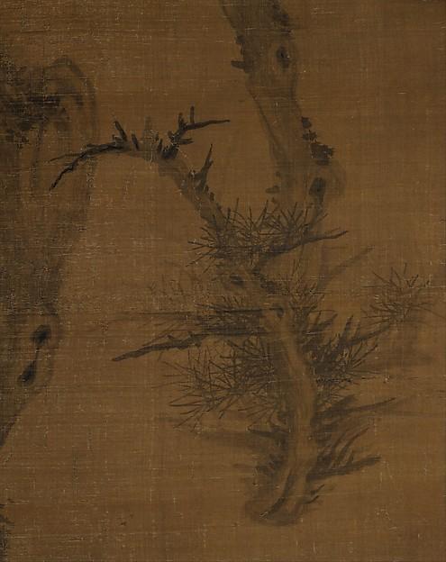 元  吳鎮  老松圖  軸<br/>Crooked Pine