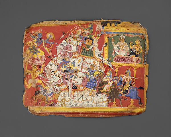 Krishna Battles the Armies of the Demon Naraka: Page from a Dispersed Bhagavata Purana Manuscript