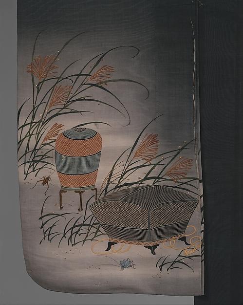 鼠絽地虫籠薄模様単衣<br/>Unlined Summer Kimono (Hito-e) with Crickets, Grasshoppers, Cricket Cages, and Pampas Grass