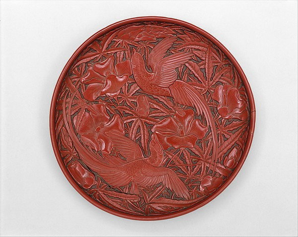 Round Dish with Birds and Hollyhock