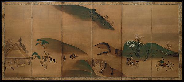 俵屋宗達工房 大原御幸図屏風  <br/>Royal Visit to Ōhara, from The Tale of the Heike