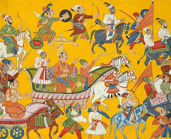 King Dasaratha and His Retinue Proceed to Rama's Wedding: Folio from the Shangri II Ramayana Series