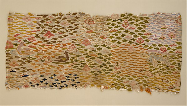 Textile with Aquatic Birds and Recumbent Animal