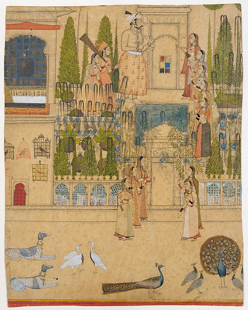 Maharana Amar Singh II with Ladies of the Zenana outside the Picture Hall at Rajnagar