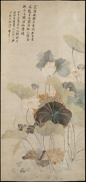 Fascinating Historical Picture of Yun Shouping with Lotuses on a Summer Even in 1684