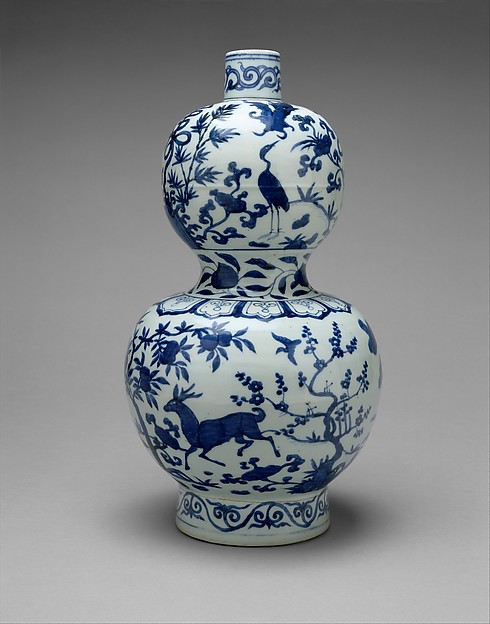 Gourd-Shaped Bottle with Deer and Crane in Landscape