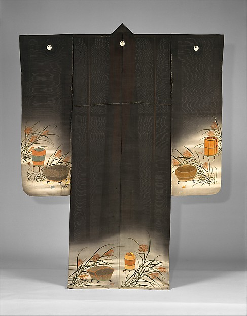 鼠絽地虫籠薄模様単衣<br/>Unlined Summer Kimono (Hito-e) with Crickets, Grasshoppers, Cricket Cages, and Pampas Grass