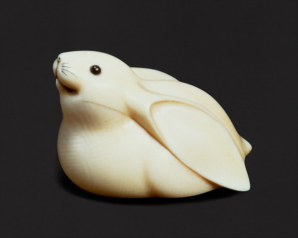 Netsuke of Rabbit in the Moon
