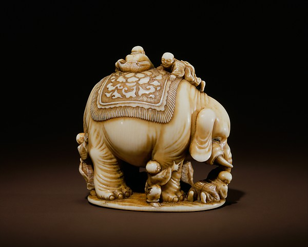 Netsuke of Blind Men and Elephant