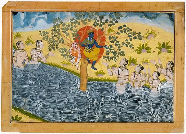 The Gopis Plead with Krishna to Return Their Clothing Folio from a Bhagavata Purana (Ancient Stories of Lord Vishnu) series
