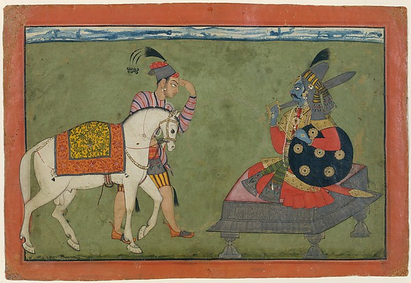 Kalki Avatar, the Future Incarnation of Vishnu: Shiva and Parvati Playing Chaupar: Folio from a Rasamanjari Series