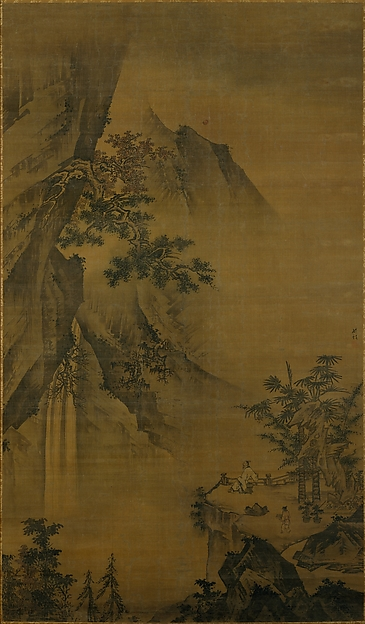 明    鍾禮    觀瀑圖    軸<br/>Scholar Looking at a Waterfall