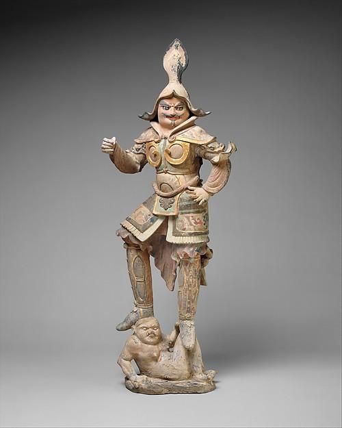 唐 彩繪描金天王俑  <br/>Figure of a Guardian