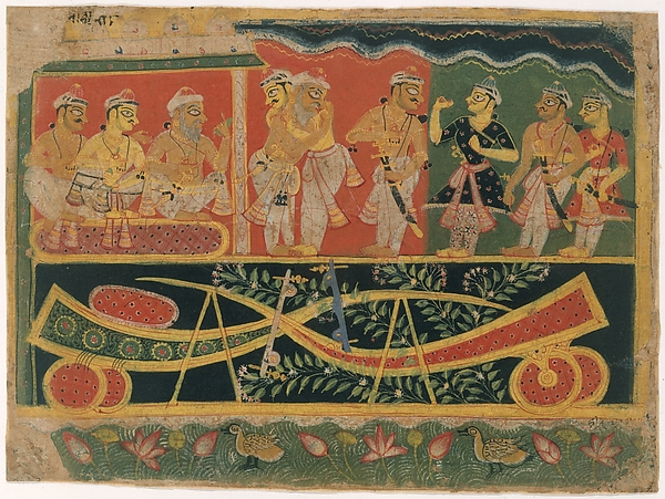 Nanda and Vasudeva: Page from a Dispersed Bhagavata Purana (Ancient Stories of Lord Vishnu)