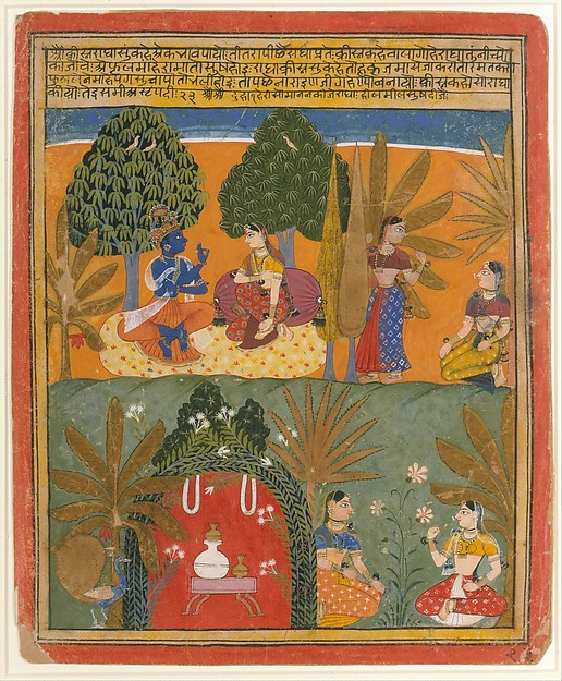 Krishna and Radha with Their Confidantes: Page from a Dispersed Gita Govinda