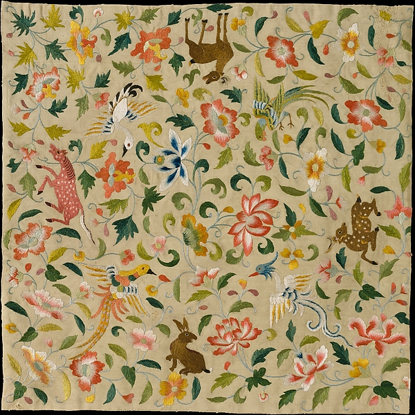 Textile with Animals, Birds, and Flowers