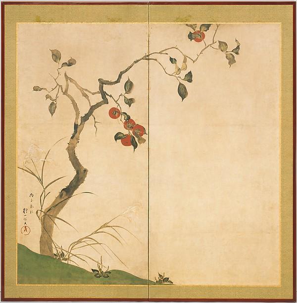 酒井抱一筆 柿図屏風<br/>The Persimmon Tree