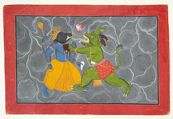 Varaha and Hiranyaksha: Folio from a Bhagavata Purana Series