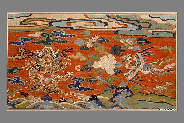 Panel with Dragon, Phoenix, and Peonies