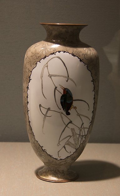 "Pair of Vases with Kingfishers and Brocade-like ""Frames"""