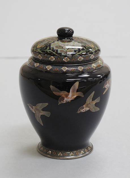 Covered Jar with Sparrows in Flight