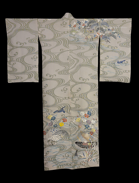 Summer Robe with Waves and Cormorant Fishing