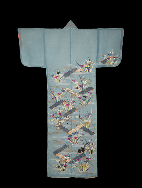 Summer Robe with Irises and Plank Bridges