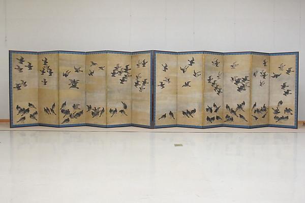 叭々鳥図屏風<br/>Mynah Birds