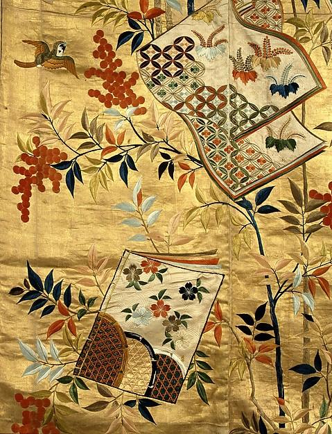 胴箔地南天冊子模様縫箔  <br/>Noh Costume (Nuihaku) with Books and Nandina Branches