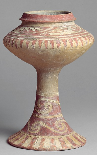 Stem Vase with Incised and Painted Design