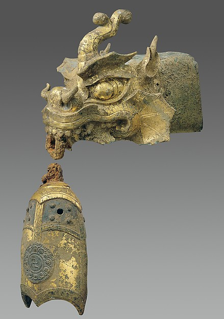 Rafter Finial in the Shape of a Dragon Head and Wind Chime