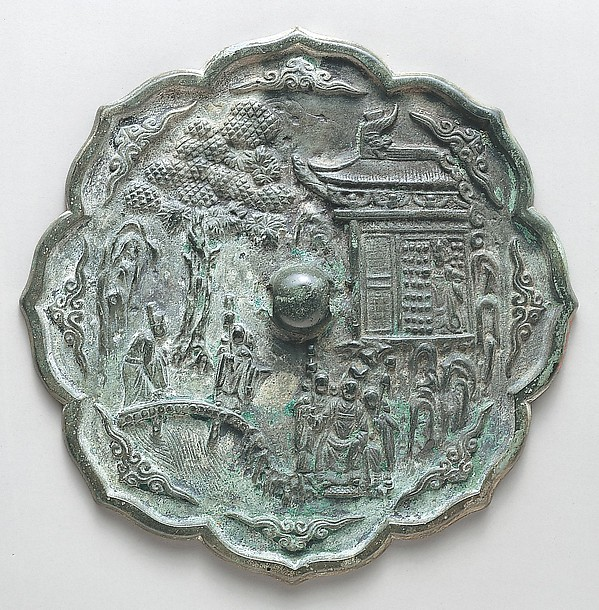 Mirror with Decoration of Figures in a Landscape