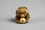 Netsuke of Monkey Looking at a Fly through a Magnifying Glass