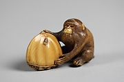 Netsuke of Monkey with a Chestnut