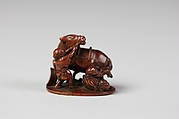 Netsuke of Two Men and Horse