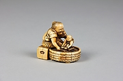 Netsuke of Old Woman Bathing Child in a Tub