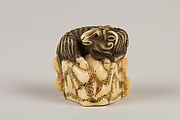 Netsuke of Goat on a Rock
