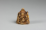 Netsuke in the form of a Bell Ornamented with Waves and Figures