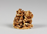 Netsuke of Two Seated Figures and a Dragon