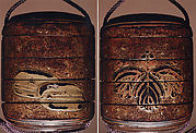 Case (Inrō) with Design of Large Kiri Mon (obverse); Two Brocade Pouches (reverse)