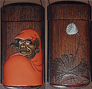Case (Inrō) with Portrait of Daruma (obverse); Large Lotus Leaf and Stalk with Seed Pod (reverse)